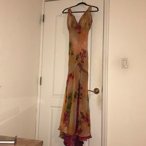 Jovani Yellow and Red Floral Evening Gown